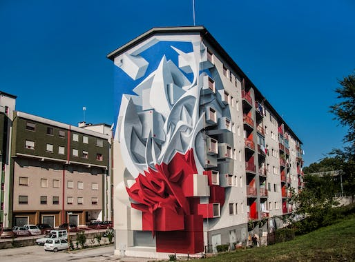 Italian street artist Peeta uses paint to create three-dimensional murals that cause buildings to dematerialize into their surroundings. Image courtesy of Peeta.