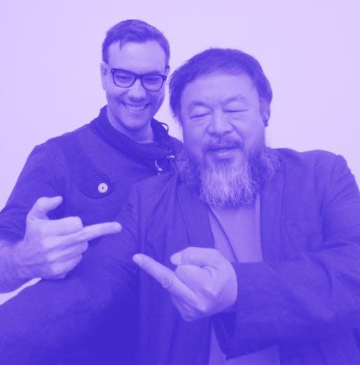 Selfie dissident style: hacktivist Jacob Appelbaum and artist Ai Weiwei. (Photo: Heather Corcoran; Image via fusion.net)