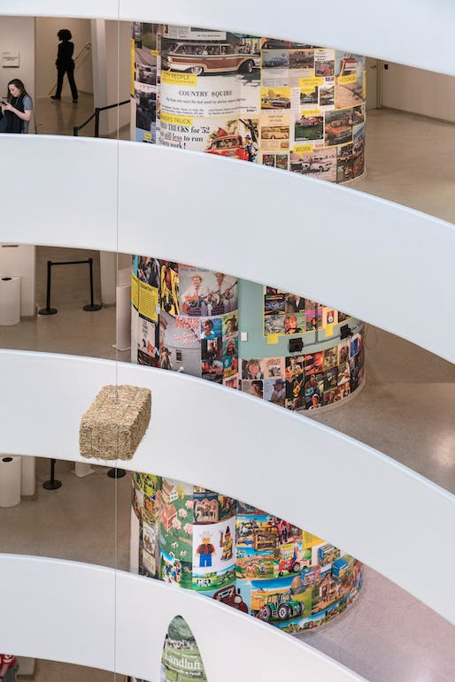 View of the Guggenheim's rotunda filled with exhibition material from Countryside, The Future. Photo courtesy of Laurian Ghinitoiu / AMO.