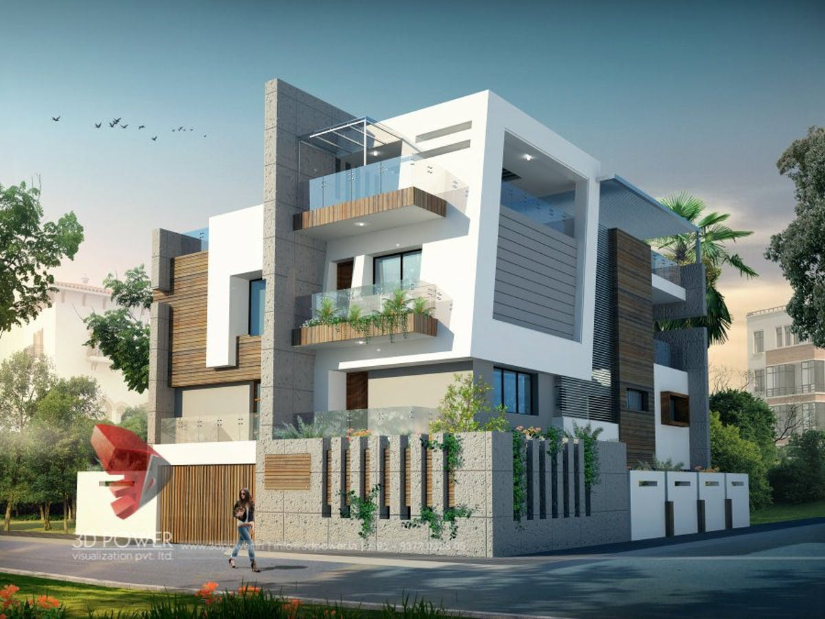 3D Ultra Modern Bungalow Exterior Day Rendering And Elevation Design By Power