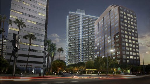 Rendering for Landmark Two, a new high-rise housing tower headed to Los Angeles's Westside. Images courtesy of Los Angeles Department of City Planning.