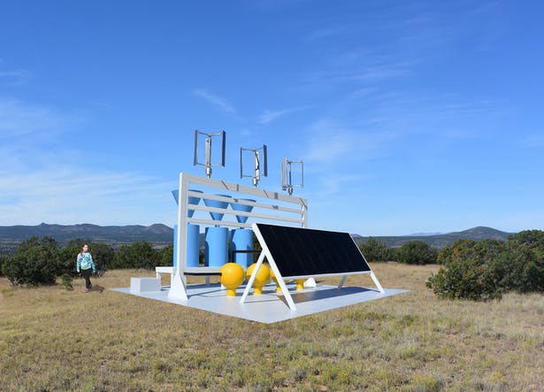 The Solar Wind Power Plant, a facility that makes electricity form the sun and from the wind, stores it in batteries and collects and stores rainwater for the local community.
