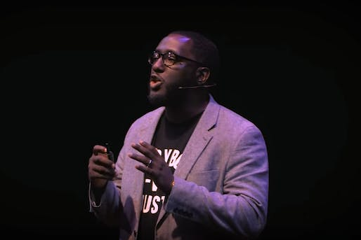Architect Michael Ford during his Hip Hop Architecture TEDx Talk last year. Screenshot via YouTube.