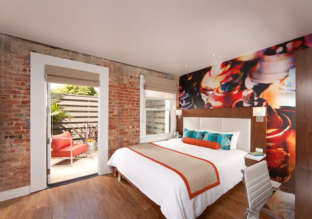 contemporary art hotel | adaptive re-use turn of century building. stylish modern interior | classic furniture collection. boutique hotel market | 41 guest rooms + amenities. 15,870 sq ft