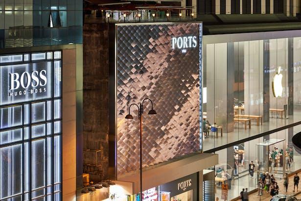 Facade reflecting Hong Kong illumination