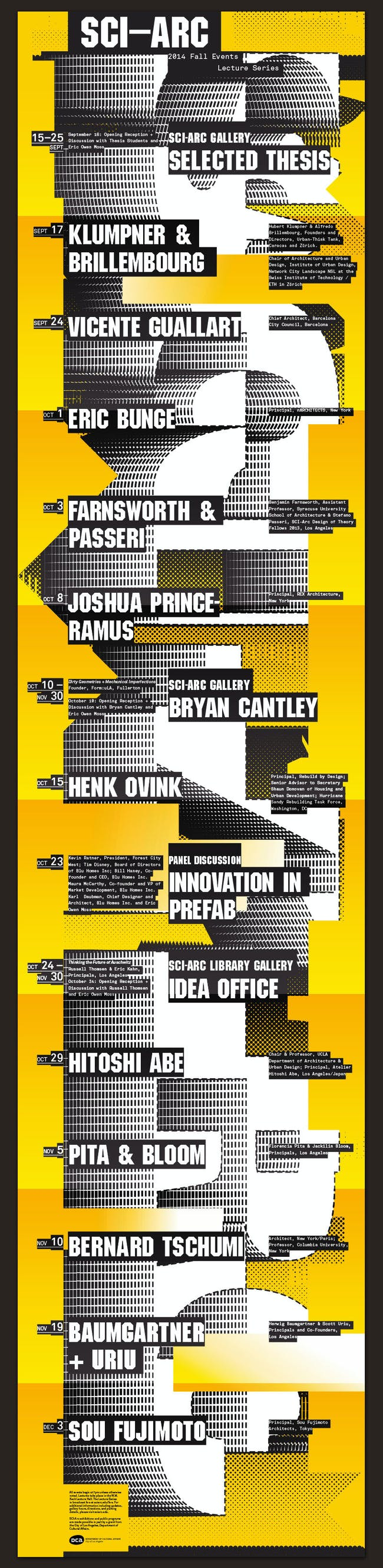 SCI-Arc Fall 2014 public lecture series (poster). Image courtesy of SCI-Arc.