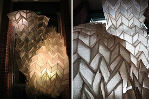 The Phototropic Origami Fiber Composite Structure that Felecia Davis has developed is pictured during the evening, at left, and during the day.