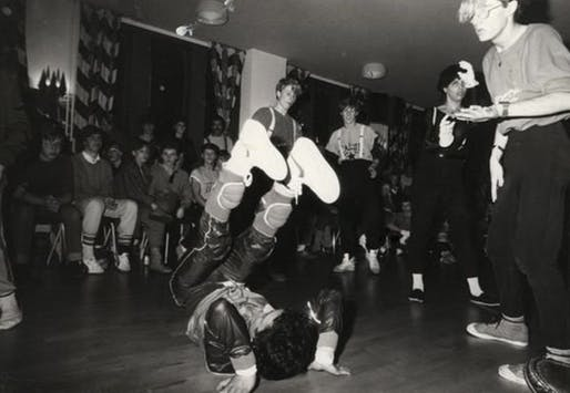 Early photo of Olafur Eliasson (far right) during his breakdancing days. Image: Phaidon.