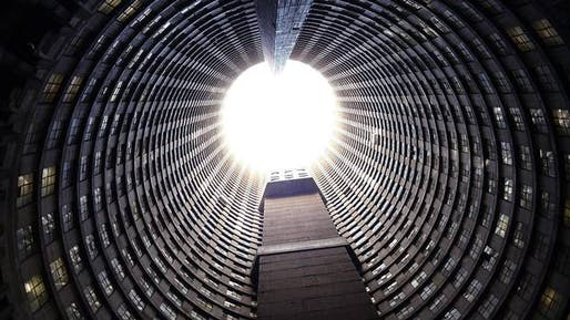 From luxury condo tower to garbage-filled hell hole and now back on track to providing decent, safe & secury residences to hundreds of tenants: the Ponte tower, Africa's tallest residential building. (Image via theglobeandmail.com)