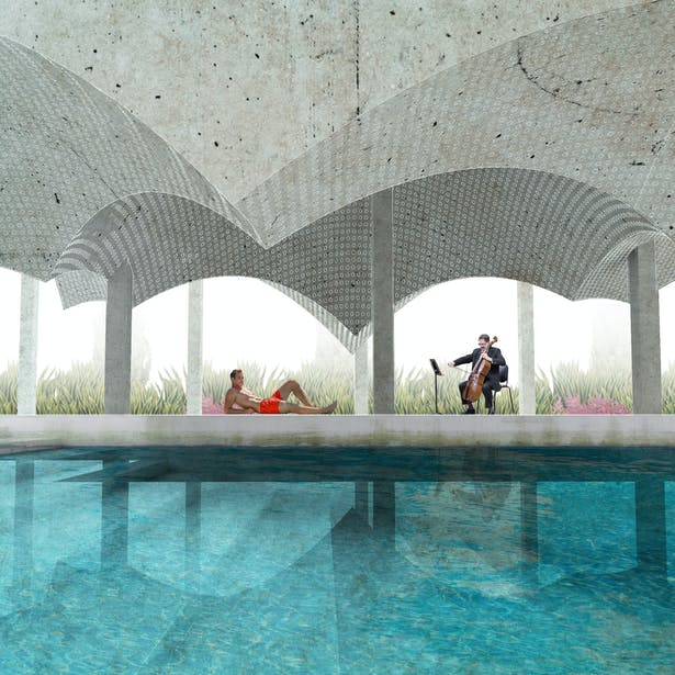 The Acoustic Pavilion: An engagement with the ear; intersecting conic vaults of various sizes producing varying sonic qualities, as the user may experience the sounds of the water or the cellist playing next to the pool under the pavilion.