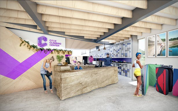 Reception for the gym is light with punches of color and a locally tailored shop for Texas' climbing needs. Also, the check-in desk will be a single, massive chunk of limestone.