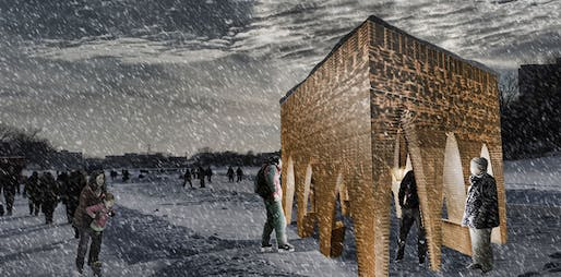 """Stalactite"" by APTUM Architecture - Warming Huts v. 2014 competition entry. Image: APTUM."