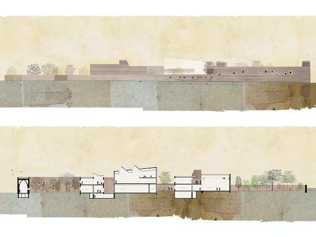 Holcim Bronze Award: Training center for sustainable construction: East elevation and longitudinal section.