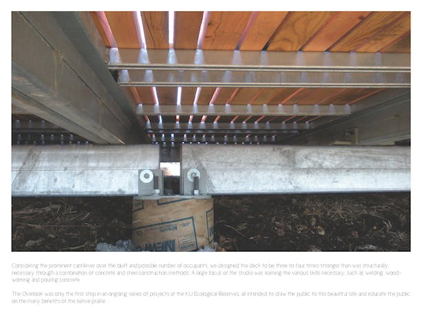 Detail photo of the point where the steel structure meets one of the concrete foundation points. The structure was designed to allow for additional tolerances in regards to expansion and slippage.