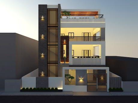 Residence-Front Elevation in Otanchathiram, near to karaikudi, Tamil Nadu, India.