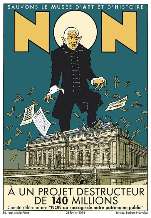 The campaign poster against Nouvel's extension plans of the Geneva Musée d'art et d'histoire makes the opposition's feelings about the architect fairly clear.