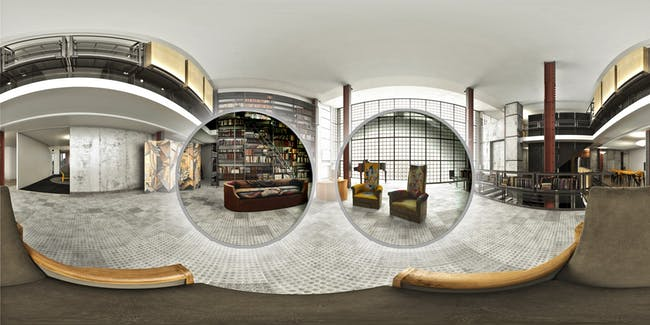 Rendering highlighting exhibited sofa and chairs, designed by Pierre Chareau, in the virtual reality context of the grand salon of the Maison de Verre. Image courtesy of Diller Scofidio + Renfro