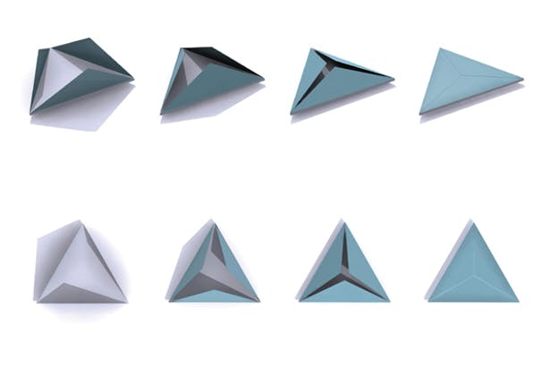 The form of the buildings are predicated on the need for the school to be transported to new locations as a result of violance and revolution. Each of the triangular side walls collapse down to form a single, stackable floor plate. Not quite a pyramid, not quite a prism, the form is just.