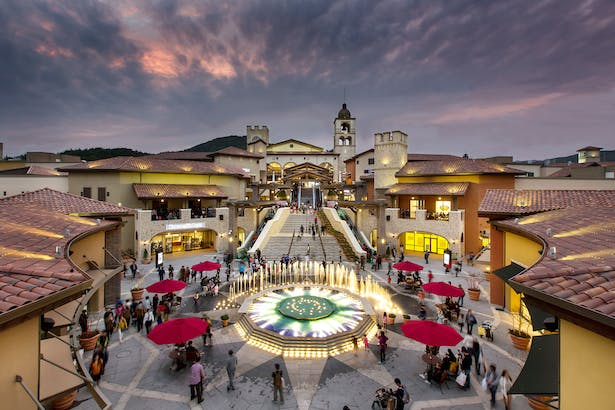 Central plaza with fountain.