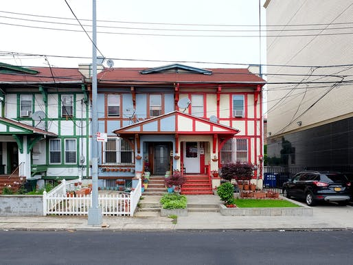 Technicolor Tudorized Row. Jamaica, NY. 2017. Photograph by Rafael Herrin-Ferri. Image courtesy of the Architectural League of New York.