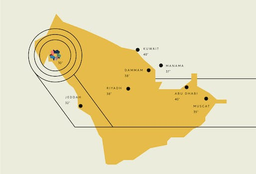 This infographic from NEOM's promo material shows the future city's location by the Red Sea (in close proximity to Egypt and Jordan) and praises the area's considerably cooler temperatures as a selling point. Image via discoverneom.com.