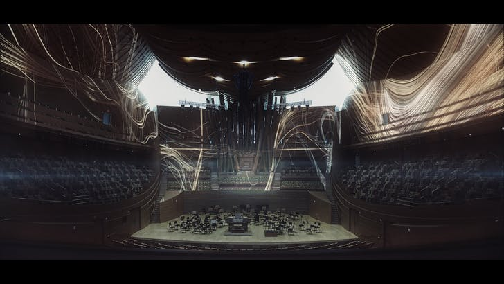 Rendering of the interior of the hall with Anadol's videos. Courtesy of the Philharmonic