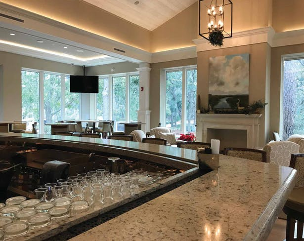 Photograph of completed bar looking towards lounge