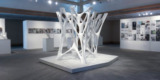 Winner of the APPLIED: Research Through Fabrication Competition and now installed at the University of Texas at Arlington School of Architecture: Cast Thicket, designed by Christine Yogiaman and Ken Tracy (Image courtesy of TEX-FAB)