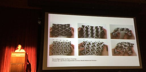 "Brad Bell's ""Casting Non-Repetitive Geometries"" presentation. Photo by Anthony Morey."