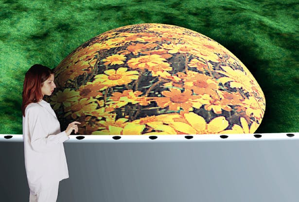 A visitor interacts with the Earth Pavilions display screen.