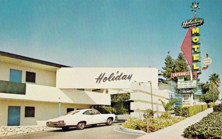 An old postcard from the Holiday Lodge Motel, which is located near LA's MacArthur Park and is a great example of the city's midcentury vernacular. Credit: lileks.com
