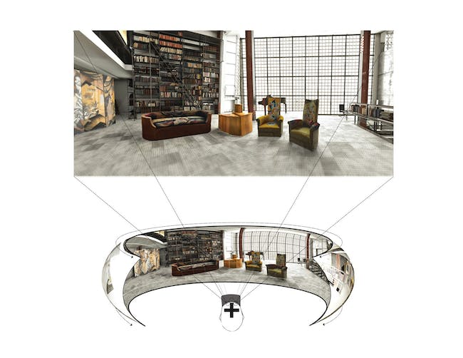 Rendering of the grand salon of Maison de Verre, as seen through a virtual reality headset, with exhibited Chareau-designed furniture in virtual context. Image courtesy of Diller Scofidio + Renfro