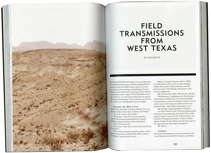 'Field Transmissions from West Texas' was published in the first issue of MANIFEST. Credit: MANIFEST / GRNASFCK