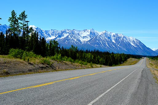 The Alaska Highway across the Yukon. Photo via wheretherobertmeetstheroad.com