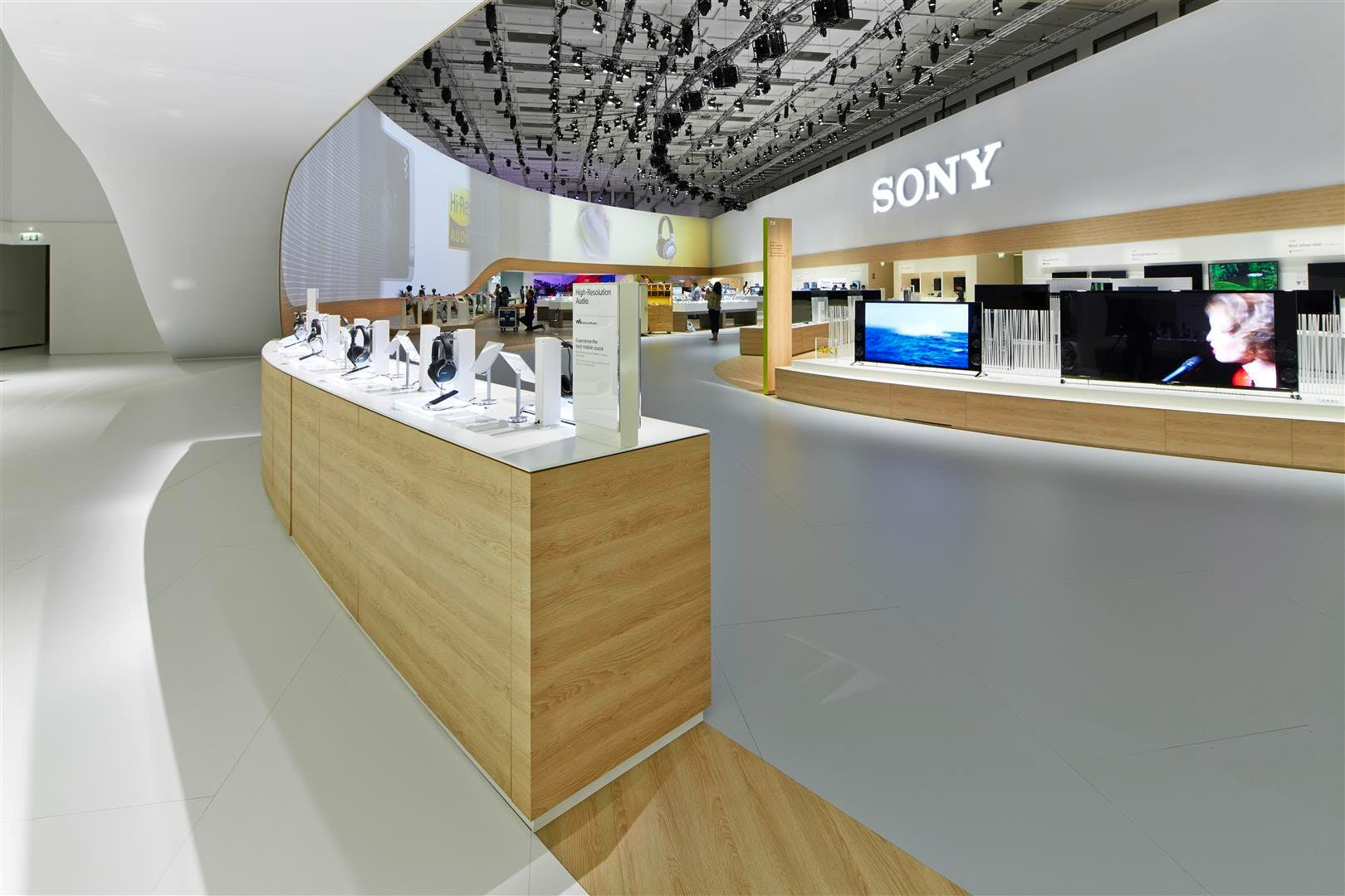 Becker Design sony exhibition stand int egger wood based materials archinect