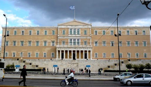"The Hellenic Parliament in Syntagma Square in Athens has been the site of numerous demonstrations over the last few months, as Greece became the first developed country to default on its loans to the IMF. Yesterday, Greek voters gave a resounding ""No!"" in a referendum over accepting bailout conditions from the Troika and further austerity. Credit: Wikipedia"