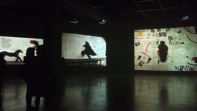 Tank exhibition space showing William Kentridge
