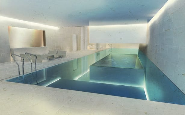 3D renderinf of pool and spa