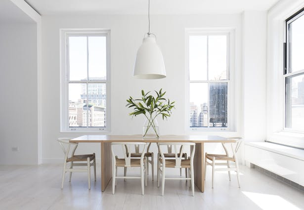 Dining with Custom White Oak Table