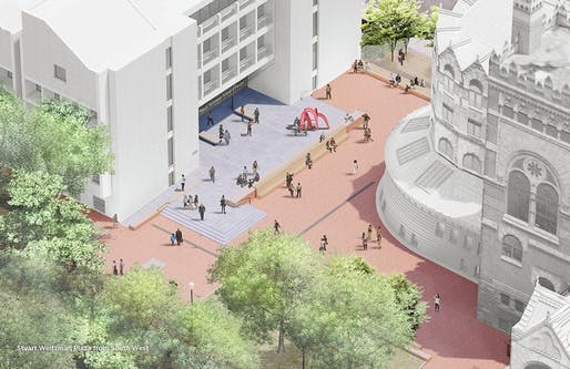 View of the redesigned Weitzman plaza that will front the university's School of Design buildings. Image courtesy of University of Pennsylvania.