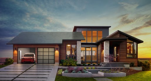 "What you not see is what you get: Tesla solar roof tiles, shown in ""Smooth Glass"" style here. Image: Tesla."