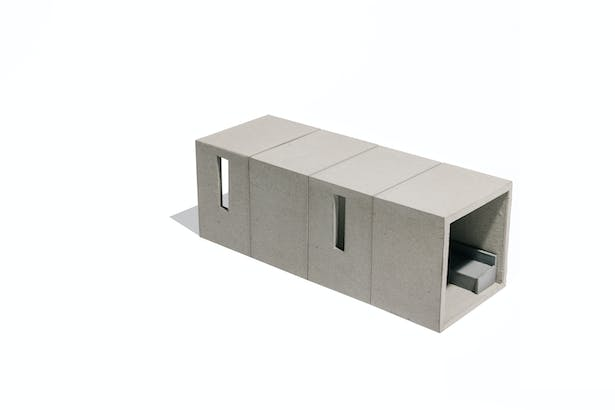THE BASIC PILOT PLAN UNIT IS COMPOSED OF 4 BOXES, ONE FOR EACH SPACE: LIVING ROOM, KITCHEN, BATHROOM AND BEDROOM. EACH BOX (10' WIDE X 8' DEEP X 10' HIGH CEILING) INTERLOCKS WITH THE NEXT CREATING A LONG AND NARROW UNIT. SCALE 1/4 = 1´-0'