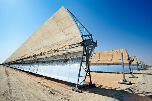 View of the Shams One 100MW CSP plant in Abu Dhabi. Image courtesy of Flickr user Masdar Official.