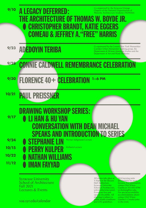 Syracuse University School of Architecture Fall 2021 events poster designed by Common Name