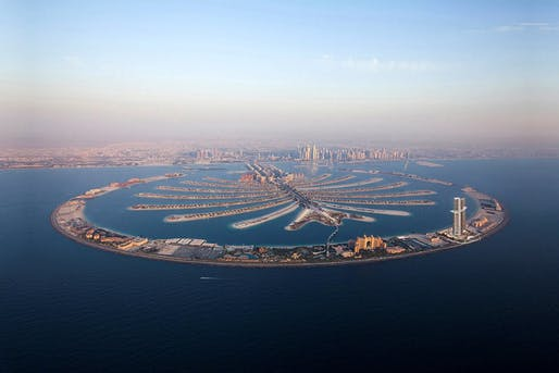 Dregded from the Gulf floor, Palm Jumeirah became the world's largest artificial island in 2007 and has an estimated population of 10,500. Image courtesy of Nakheel.