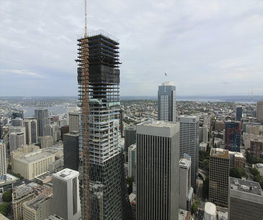 Construction cam view of the now topped-out Rainier Square Tower on August 23rd. Image courtesy of Wright Runstad & Company.