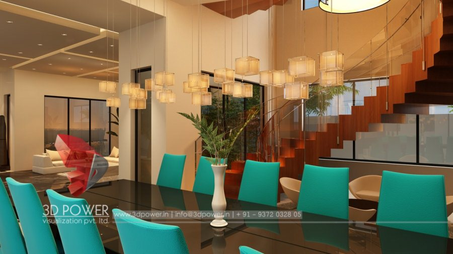 Classic 3D Modern Bungalow Interior Living dining rendering