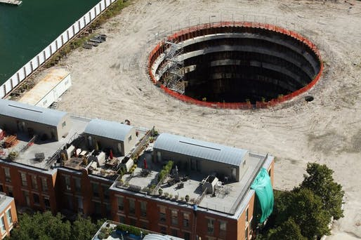 Pictured: The empty development site for the failed Chicago Spire project. Image courtesy of Wikimedia user Forgemind ArchiMedia.