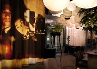 Restaurant wall and curtain design.