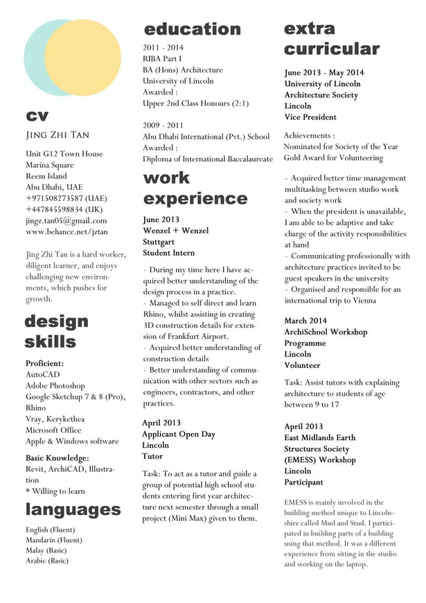 cv resume jing zhi tan archinect